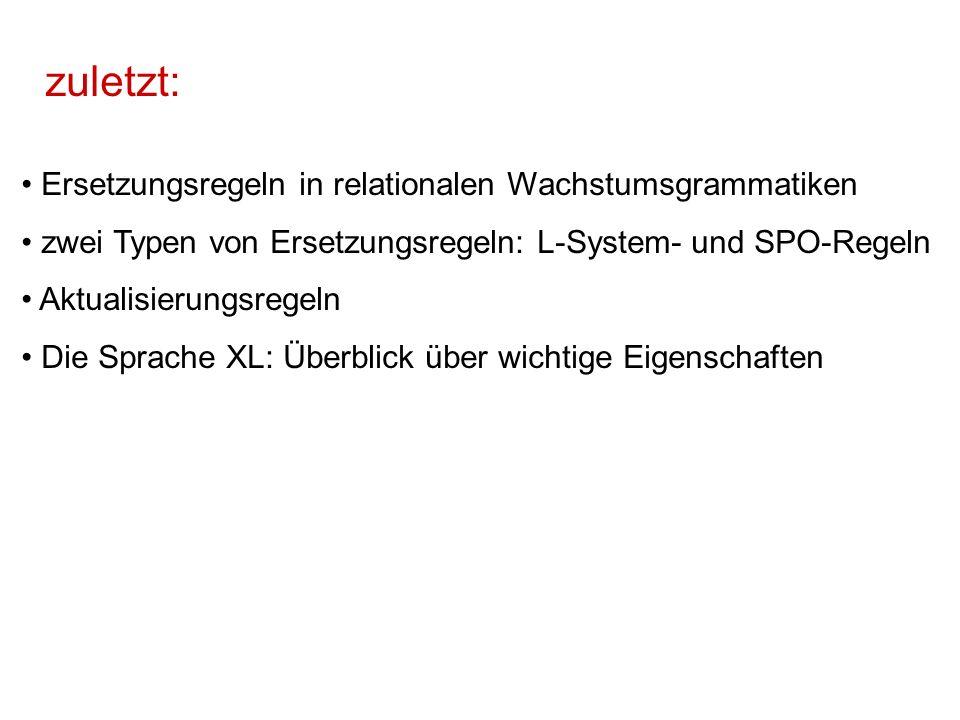 zuletzt: Ersetzungsregeln in relationalen Wachstumsgrammatiken zwei Typen von Ersetzungsregeln: L-System- und SPO-Regeln Aktualisierungsregeln Die Spr