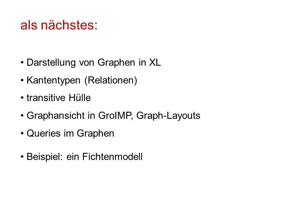 als nächstes: Darstellung von Graphen in XL Kantentypen (Relationen) transitive Hülle Graphansicht in GroIMP, Graph-Layouts Queries im Graphen Beispiel: ein Fichtenmodell