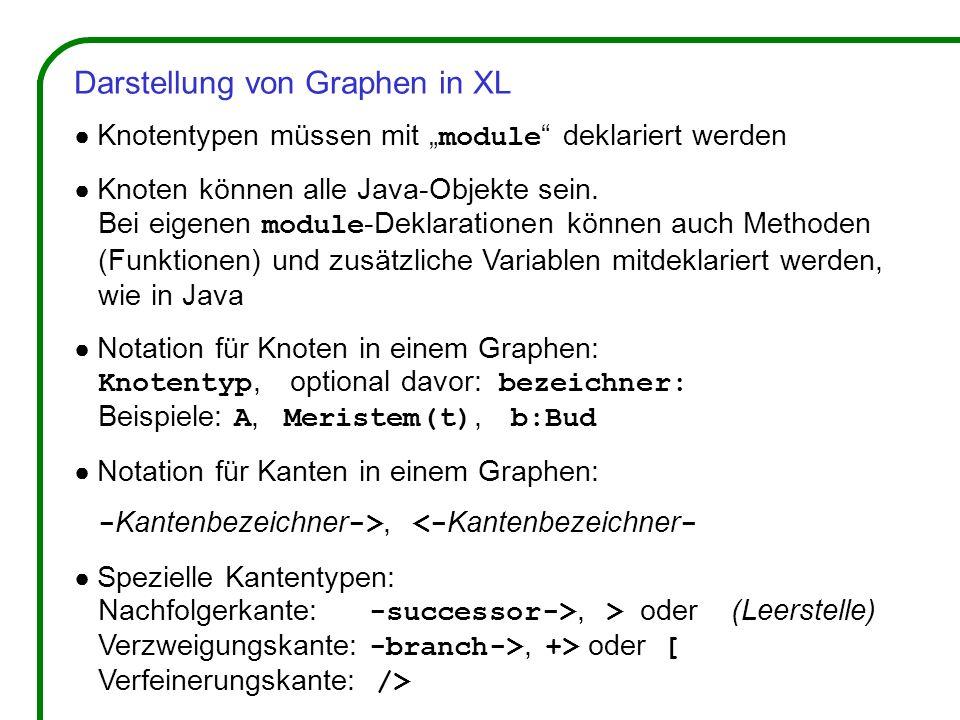 Darstellung von Graphen in XL Knotentypen müssen mit module deklariert werden Knoten können alle Java-Objekte sein. Bei eigenen module -Deklarationen