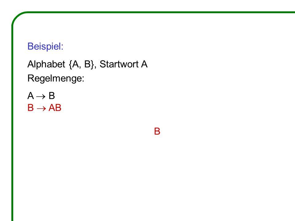 Beispiel: Alphabet {A, B}, Startwort A Regelmenge: A B B AB B