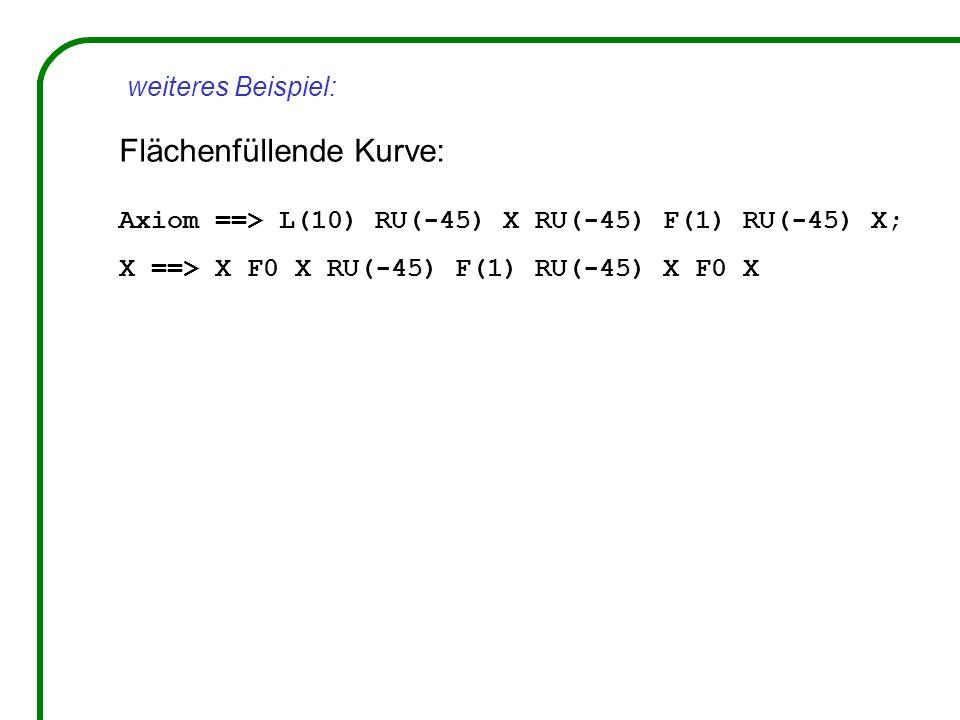 Flächenfüllende Kurve: Axiom ==> L(10) RU(-45) X RU(-45) F(1) RU(-45) X; X ==> X F0 X RU(-45) F(1) RU(-45) X F0 X weiteres Beispiel: