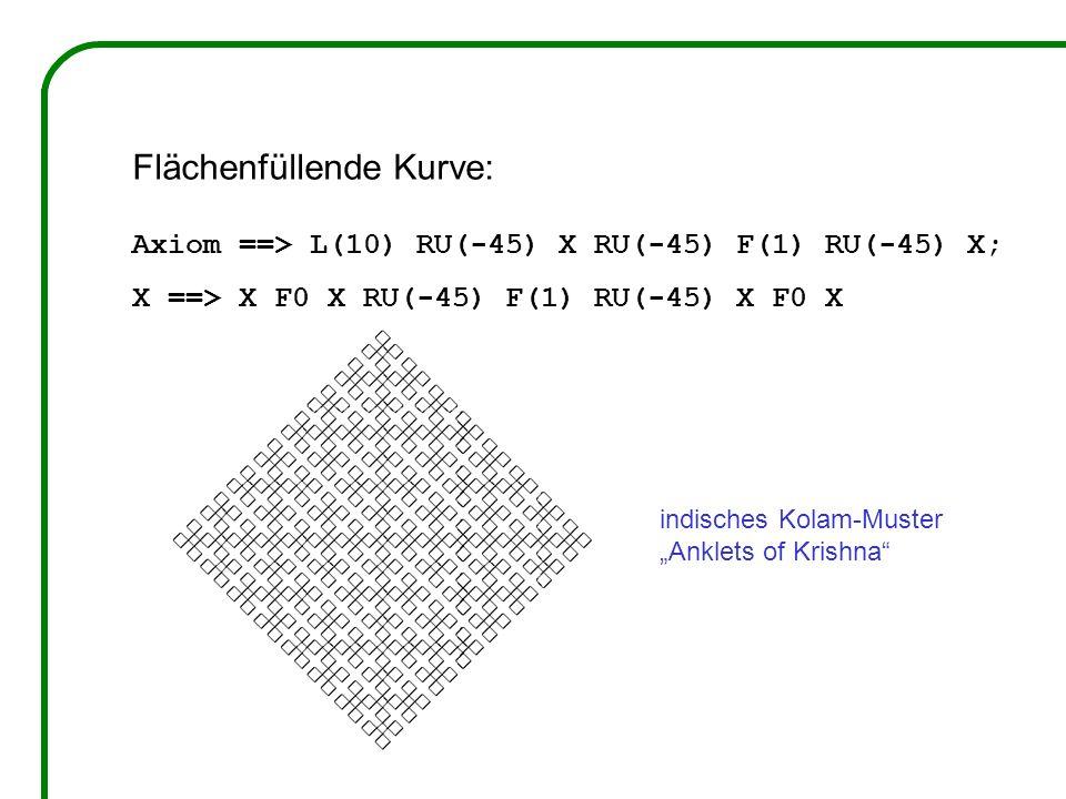 Flächenfüllende Kurve: Axiom ==> L(10) RU(-45) X RU(-45) F(1) RU(-45) X; X ==> X F0 X RU(-45) F(1) RU(-45) X F0 X indisches Kolam-Muster Anklets of Krishna