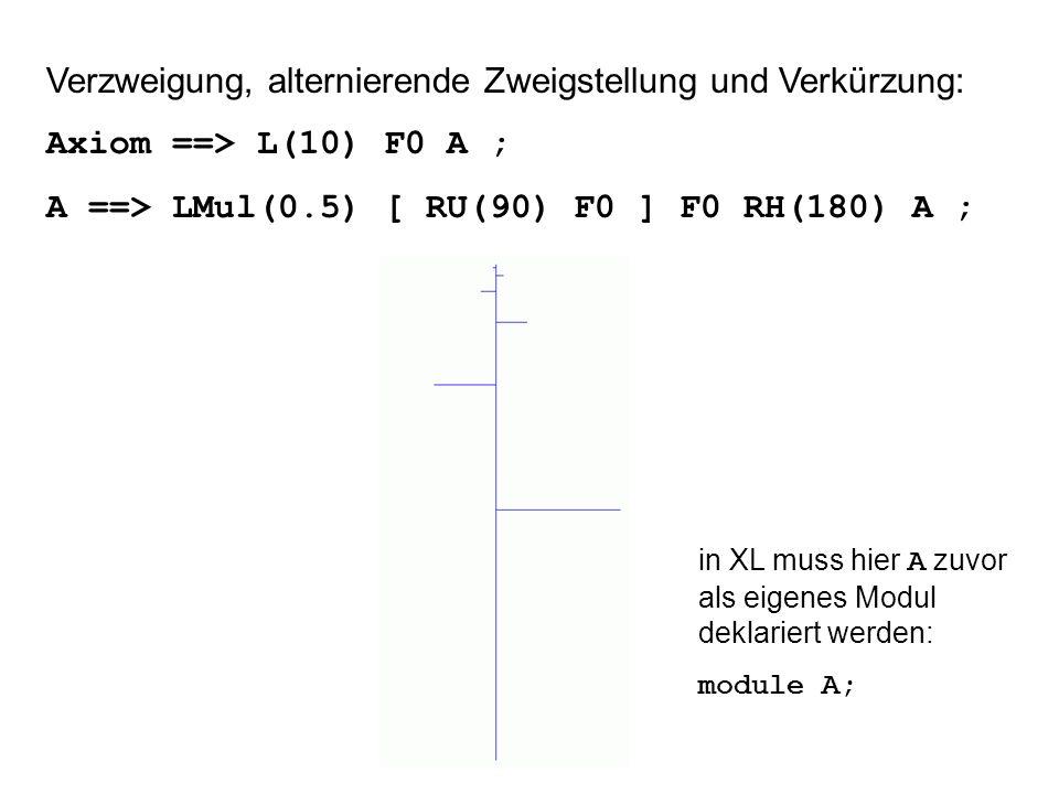 Verzweigung, alternierende Zweigstellung und Verkürzung: Axiom ==> L(10) F0 A ; A ==> LMul(0.5) [ RU(90) F0 ] F0 RH(180) A ; in XL muss hier A zuvor als eigenes Modul deklariert werden: module A;