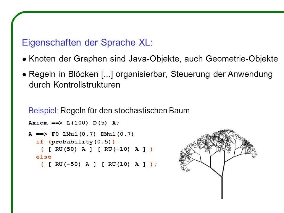 Eigenschaften der Sprache XL: Knoten der Graphen sind Java-Objekte, auch Geometrie-Objekte Regeln in Blöcken [...] organisierbar, Steuerung der Anwendung durch Kontrollstrukturen Beispiel: Regeln für den stochastischen Baum Axiom ==> L(100) D(5) A; A ==> F0 LMul(0.7) DMul(0.7) if (probability(0.5)) ( [ RU(50) A ] [ RU(-10) A ] ) else ( [ RU(-50) A ] [ RU(10) A ] );