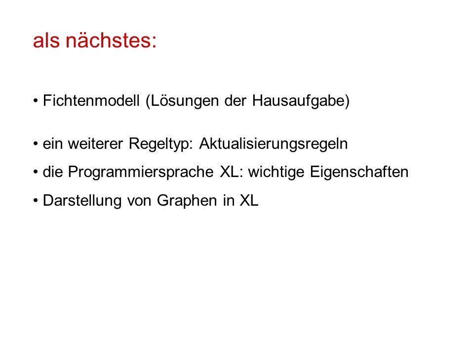 als nächstes: Fichtenmodell (Lösungen der Hausaufgabe) ein weiterer Regeltyp: Aktualisierungsregeln die Programmiersprache XL: wichtige Eigenschaften Darstellung von Graphen in XL