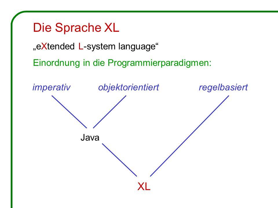 imperativobjektorientiertregelbasiert Java XL Die Sprache XL eXtended L-system language Einordnung in die Programmierparadigmen: