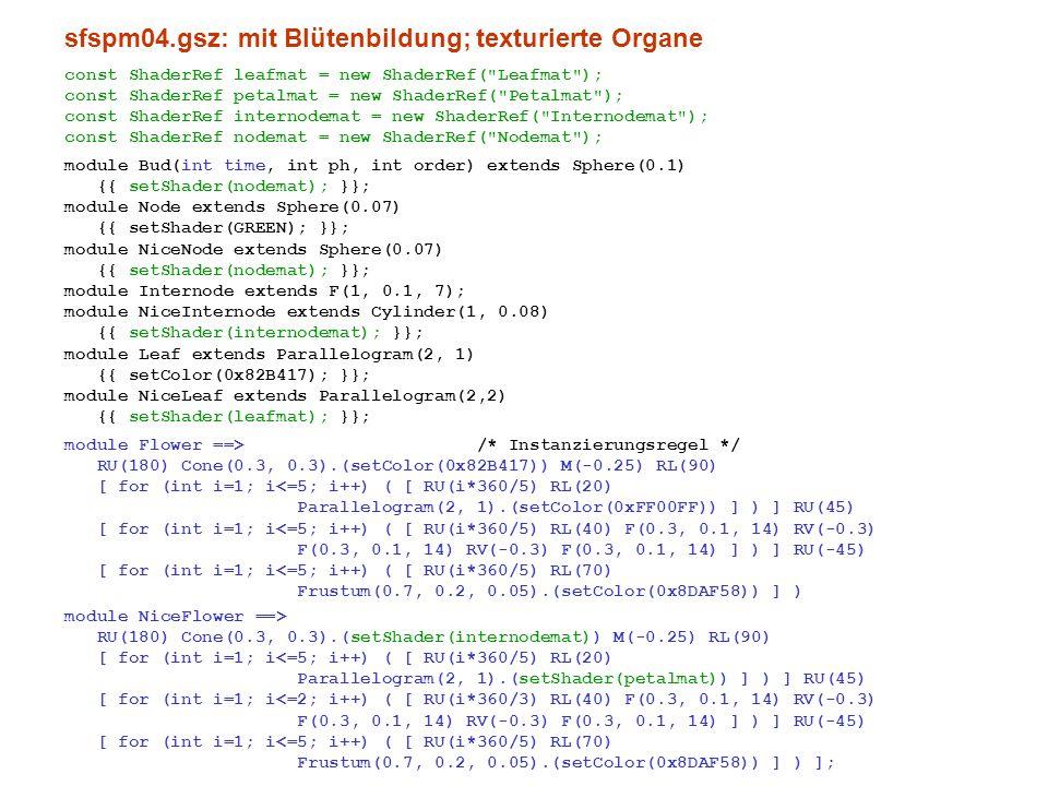 sfspm04.gsz: mit Blütenbildung; texturierte Organe const ShaderRef leafmat = new ShaderRef(