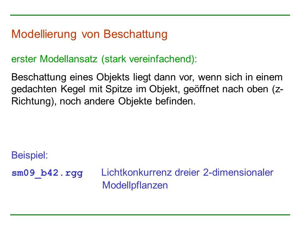 Modellierung von Beschattung erster Modellansatz (stark vereinfachend): Beschattung eines Objekts liegt dann vor, wenn sich in einem gedachten Kegel mit Spitze im Objekt, geöffnet nach oben (z- Richtung), noch andere Objekte befinden.
