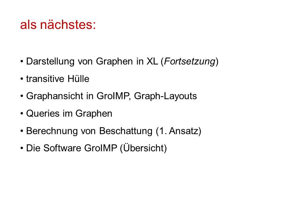 als nächstes: Darstellung von Graphen in XL (Fortsetzung) transitive Hülle Graphansicht in GroIMP, Graph-Layouts Queries im Graphen Berechnung von Bes