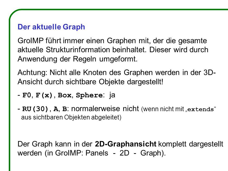Der aktuelle Graph GroIMP führt immer einen Graphen mit, der die gesamte aktuelle Strukturinformation beinhaltet. Dieser wird durch Anwendung der Rege