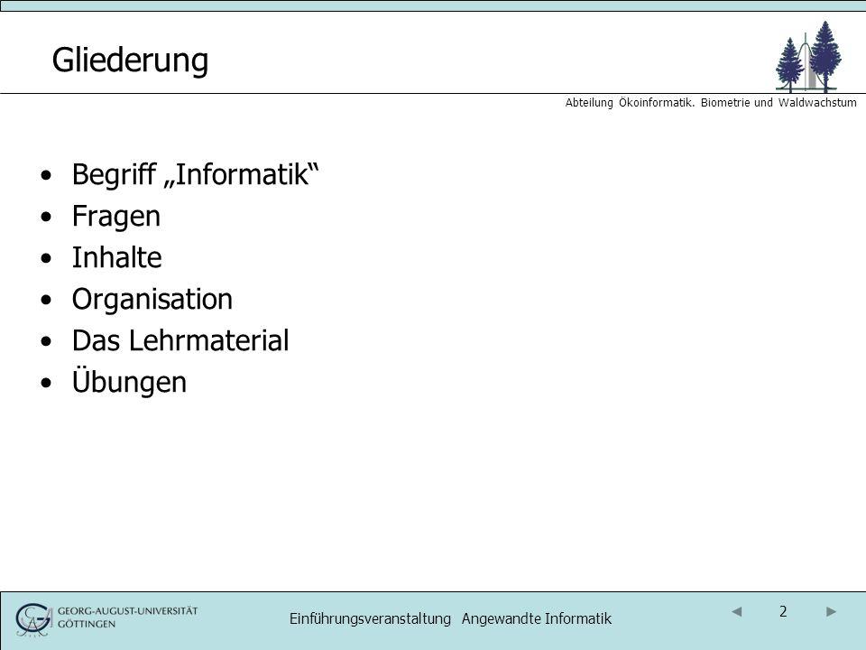 13 Abteilung Ökoinformatik.