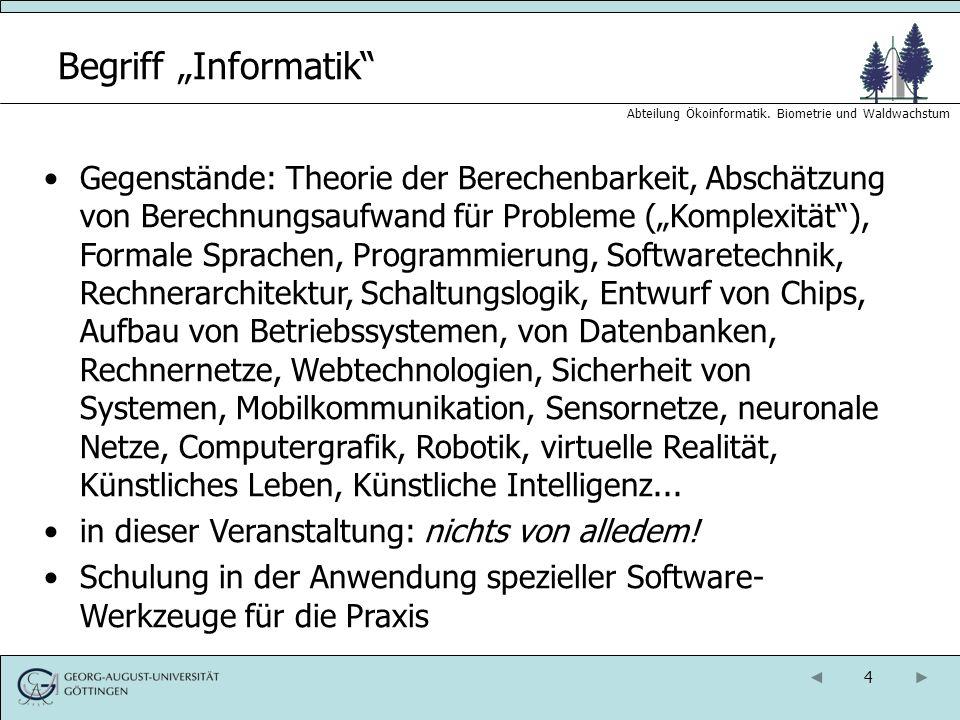 15 Abteilung Ökoinformatik.