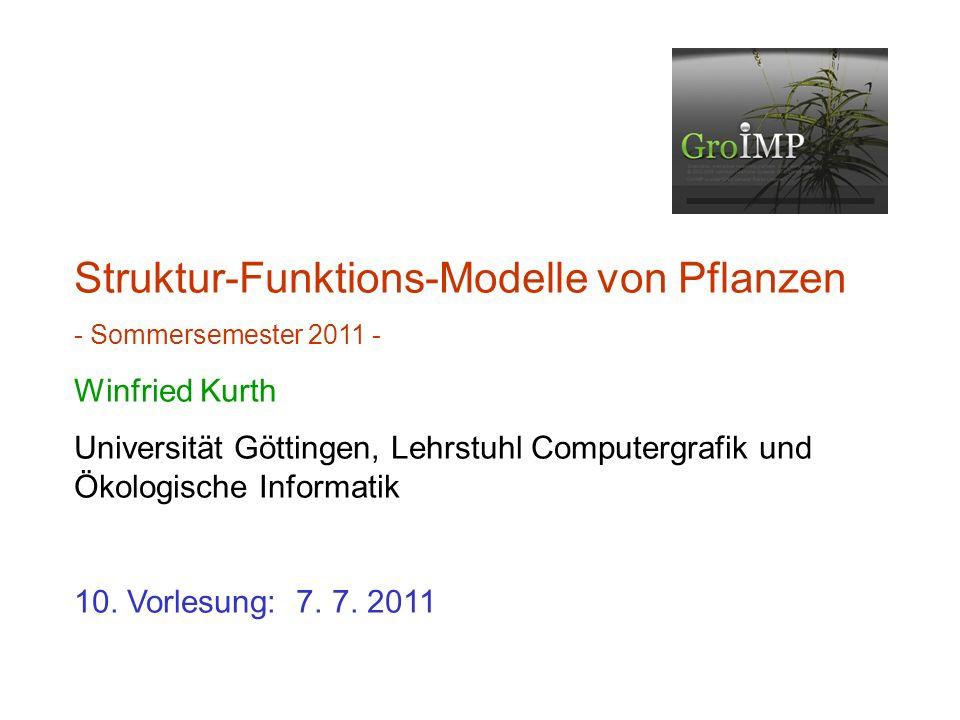 letztes Mal: Analyse des Fichtenmodells Übersicht zu GroIMP Morphologische Messung, Erstellung von dtd-Dateien Schritte 1 und 2 zu einem einfachen Struktur-Funktions- Modell