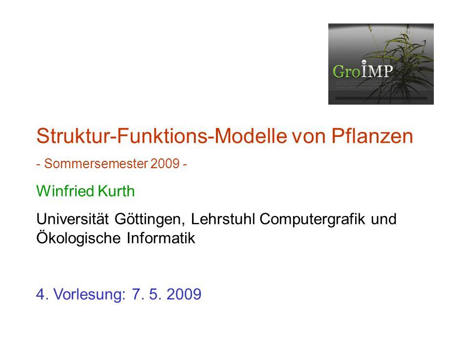Struktur-Funktions-Modelle von Pflanzen - Sommersemester 2009 - Winfried Kurth Universität Göttingen, Lehrstuhl Computergrafik und Ökologische Informatik 4.