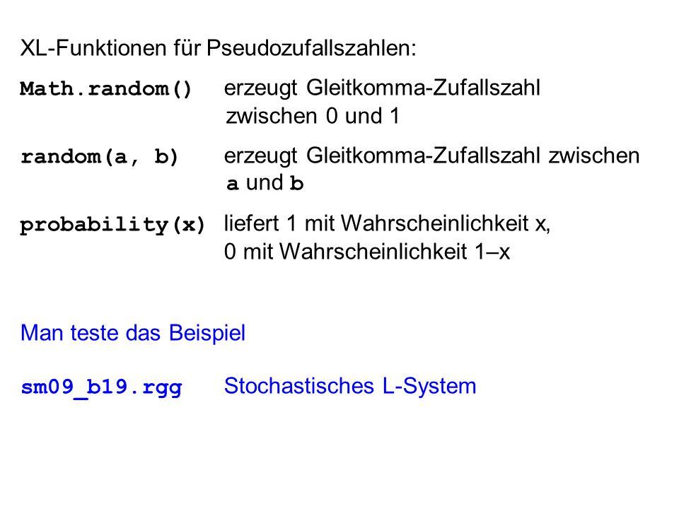 XL-Funktionen für Pseudozufallszahlen: Math.random() erzeugt Gleitkomma-Zufallszahl zwischen 0 und 1 random(a, b) erzeugt Gleitkomma-Zufallszahl zwischen a und b probability(x) liefert 1 mit Wahrscheinlichkeit x, 0 mit Wahrscheinlichkeit 1–x Man teste das Beispiel sm09_b19.rgg Stochastisches L-System