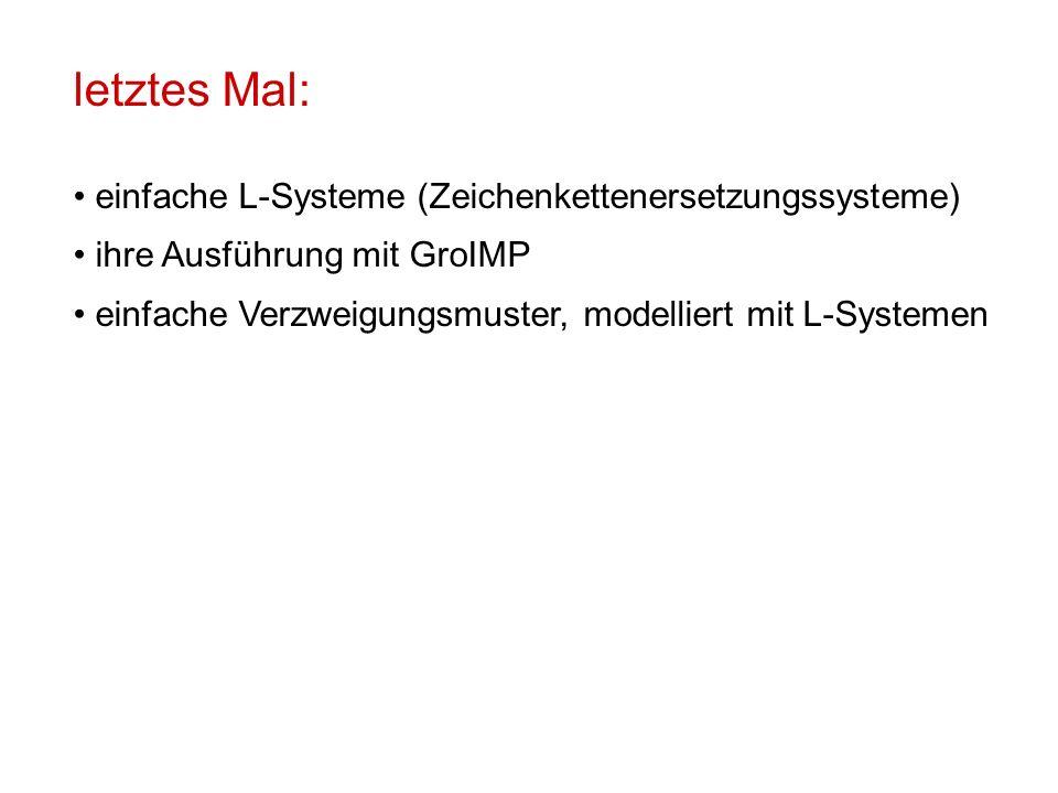 letztes Mal: einfache L-Systeme (Zeichenkettenersetzungssysteme) ihre Ausführung mit GroIMP einfache Verzweigungsmuster, modelliert mit L-Systemen