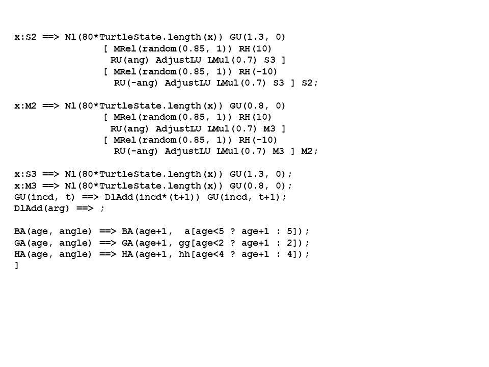 x:S2 ==> Nl(80*TurtleState.length(x)) GU(1.3, 0) [ MRel(random(0.85, 1)) RH(10) RU(ang) AdjustLU LMul(0.7) S3 ] [ MRel(random(0.85, 1)) RH(-10) RU(-ang) AdjustLU LMul(0.7) S3 ] S2; x:M2 ==> Nl(80*TurtleState.length(x)) GU(0.8, 0) [ MRel(random(0.85, 1)) RH(10) RU(ang) AdjustLU LMul(0.7) M3 ] [ MRel(random(0.85, 1)) RH(-10) RU(-ang) AdjustLU LMul(0.7) M3 ] M2; x:S3 ==> Nl(80*TurtleState.length(x)) GU(1.3, 0); x:M3 ==> Nl(80*TurtleState.length(x)) GU(0.8, 0); GU(incd, t) ==> DlAdd(incd*(t+1)) GU(incd, t+1); DlAdd(arg) ==> ; BA(age, angle) ==> BA(age+1, a[age<5 .
