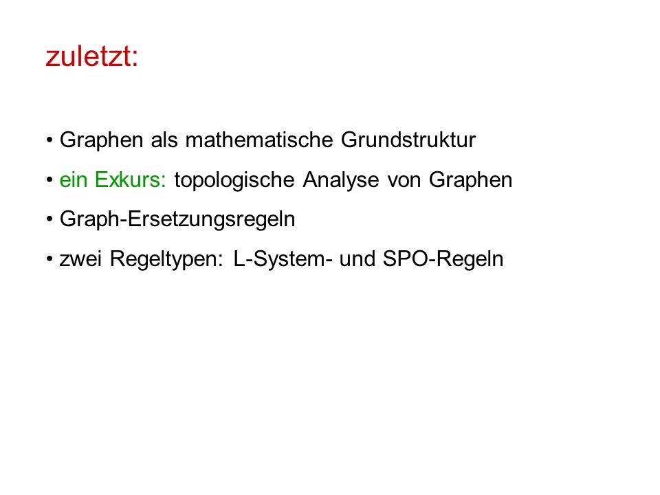 zuletzt: Graphen als mathematische Grundstruktur ein Exkurs: topologische Analyse von Graphen Graph-Ersetzungsregeln zwei Regeltypen: L-System- und SPO-Regeln