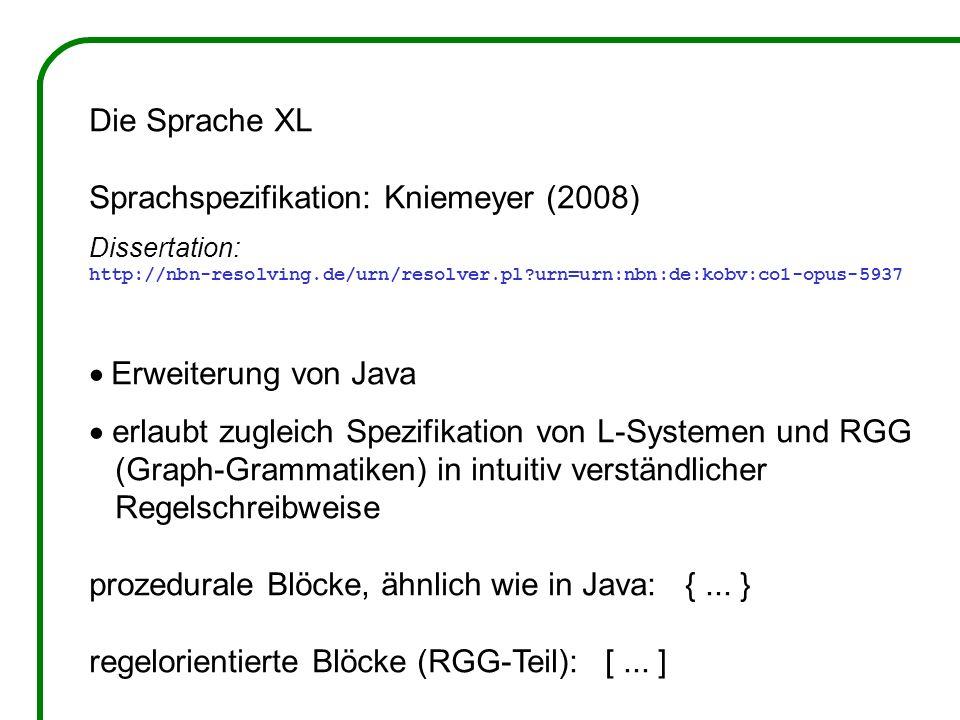 Die Sprache XL Sprachspezifikation: Kniemeyer (2008) Dissertation: http://nbn-resolving.de/urn/resolver.pl urn=urn:nbn:de:kobv:co1-opus-5937 Erweiterung von Java erlaubt zugleich Spezifikation von L-Systemen und RGG (Graph-Grammatiken) in intuitiv verständlicher Regelschreibweise prozedurale Blöcke, ähnlich wie in Java: {...