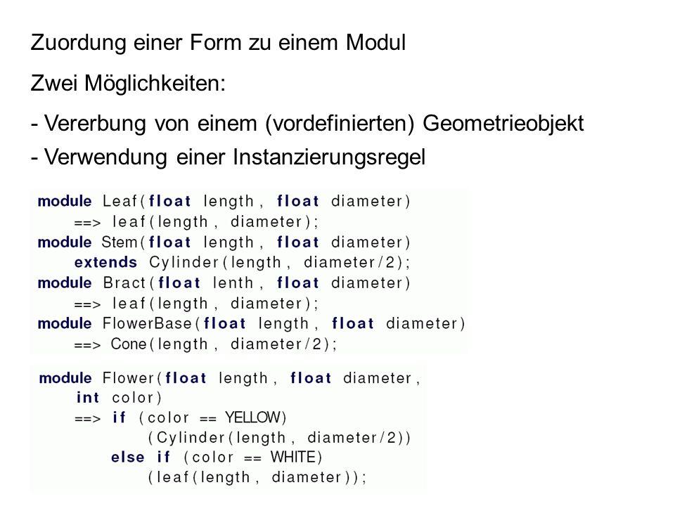Zuordung einer Form zu einem Modul Zwei Möglichkeiten: - Vererbung von einem (vordefinierten) Geometrieobjekt - Verwendung einer Instanzierungsregel