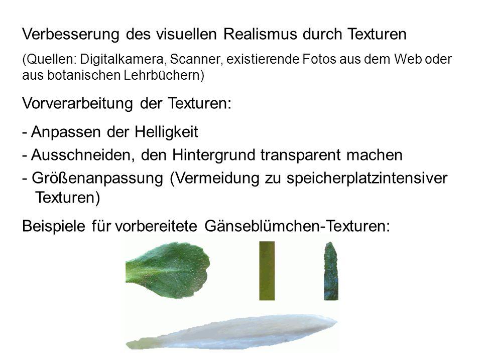 Verbesserung des visuellen Realismus durch Texturen (Quellen: Digitalkamera, Scanner, existierende Fotos aus dem Web oder aus botanischen Lehrbüchern)
