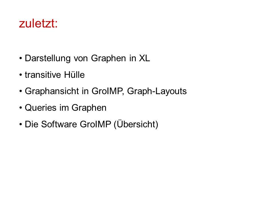zuletzt: Darstellung von Graphen in XL transitive Hülle Graphansicht in GroIMP, Graph-Layouts Queries im Graphen Die Software GroIMP (Übersicht)