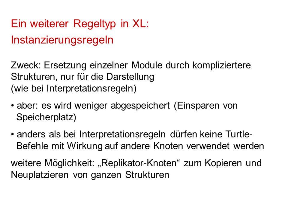 Ein weiterer Regeltyp in XL: Instanzierungsregeln Zweck: Ersetzung einzelner Module durch kompliziertere Strukturen, nur für die Darstellung (wie bei