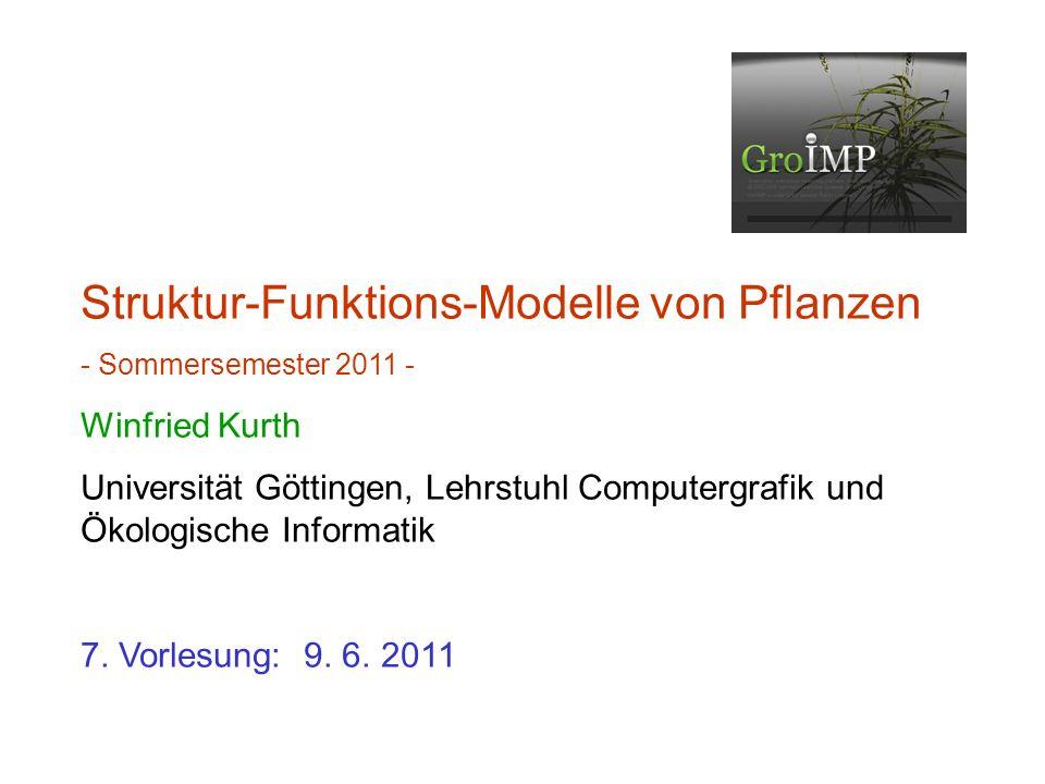 Struktur-Funktions-Modelle von Pflanzen - Sommersemester 2011 - Winfried Kurth Universität Göttingen, Lehrstuhl Computergrafik und Ökologische Informa