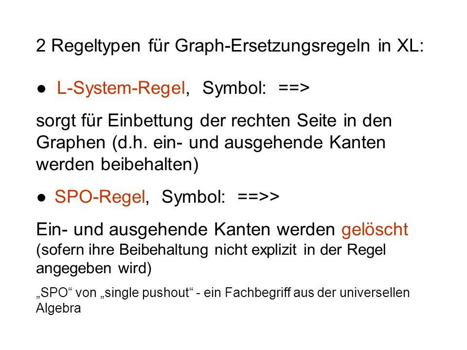 2 Regeltypen für Graph-Ersetzungsregeln in XL: L-System-Regel, Symbol: ==> sorgt für Einbettung der rechten Seite in den Graphen (d.h. ein- und ausgeh