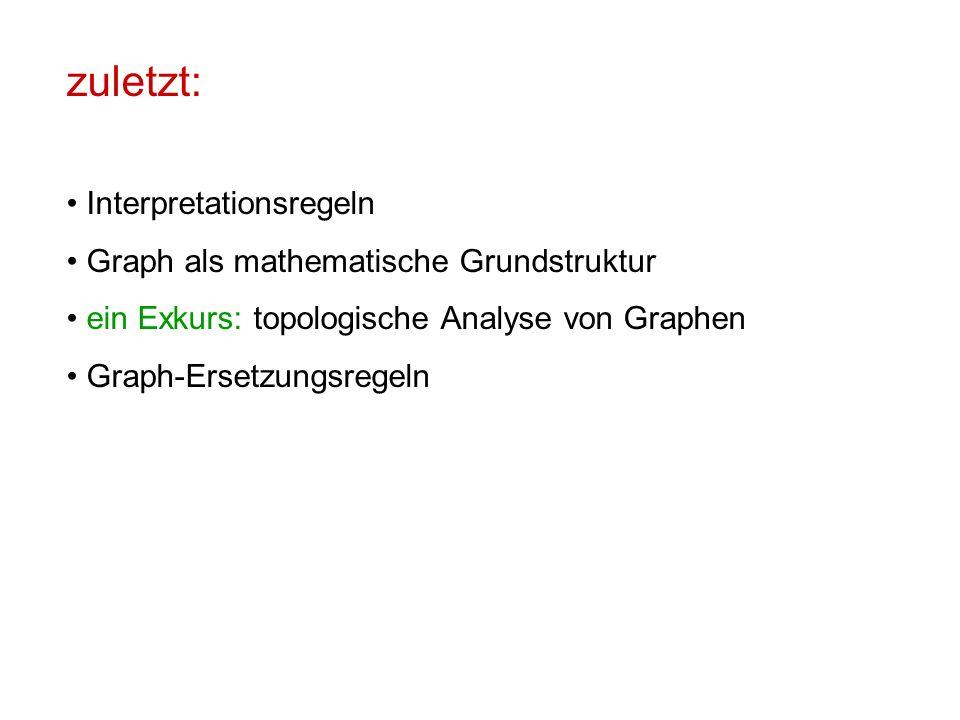 zuletzt: Interpretationsregeln Graph als mathematische Grundstruktur ein Exkurs: topologische Analyse von Graphen Graph-Ersetzungsregeln