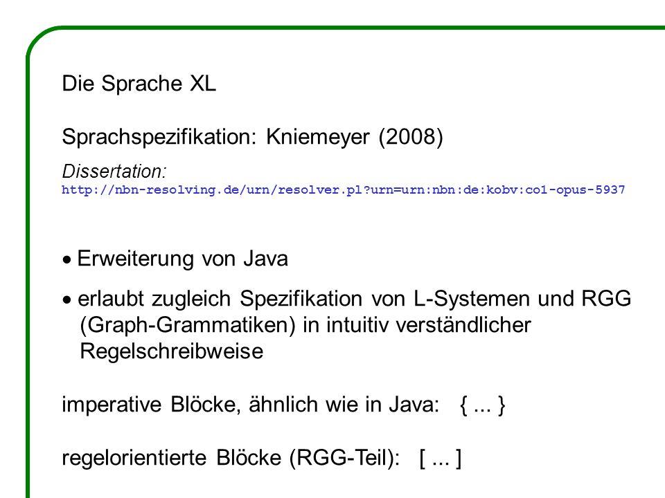 Die Sprache XL Sprachspezifikation: Kniemeyer (2008) Dissertation: http://nbn-resolving.de/urn/resolver.pl?urn=urn:nbn:de:kobv:co1-opus-5937 Erweiteru