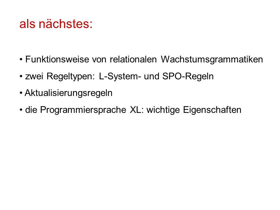 als nächstes: Funktionsweise von relationalen Wachstumsgrammatiken zwei Regeltypen: L-System- und SPO-Regeln Aktualisierungsregeln die Programmiersprache XL: wichtige Eigenschaften