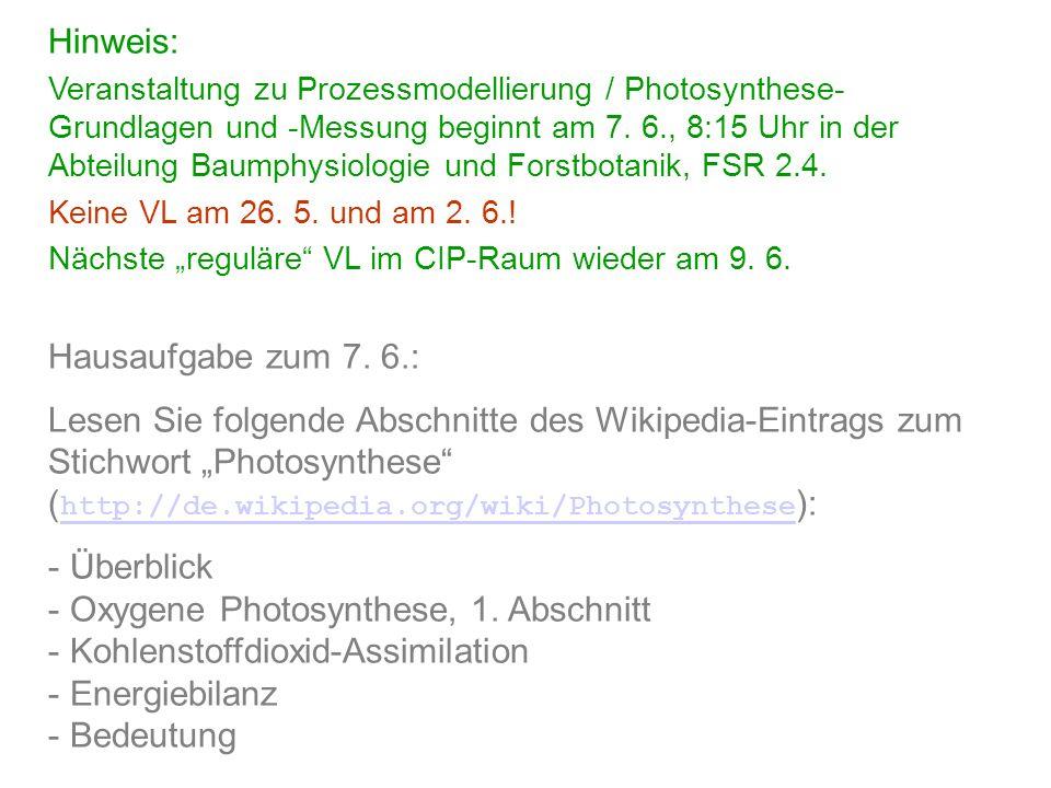 Hinweis: Veranstaltung zu Prozessmodellierung / Photosynthese- Grundlagen und -Messung beginnt am 7. 6., 8:15 Uhr in der Abteilung Baumphysiologie und