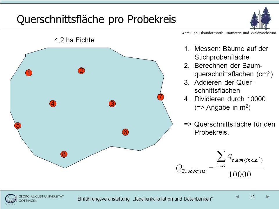 31 Abteilung Ökoinformatik. Biometrie und Waldwachstum Querschnittsfläche pro Probekreis 4,2 ha Fichte 1 1.Messen: Bäume auf der Stichprobenfläche 2.B