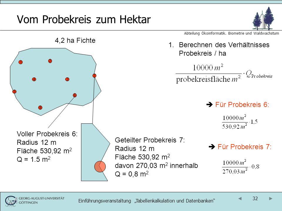 32 Abteilung Ökoinformatik. Biometrie und Waldwachstum Vom Probekreis zum Hektar 4,2 ha Fichte 1.Berechnen des Verhältnisses Probekreis / ha 1 2 34 5