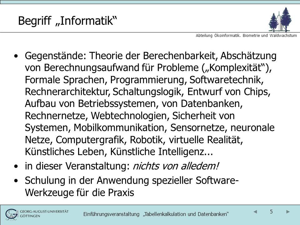16 Abteilung Ökoinformatik.