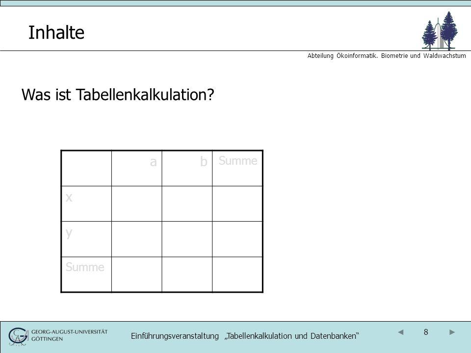 9 Abteilung Ökoinformatik.Biometrie und Waldwachstum Inhalte Was ist Tabellenkalkulation.