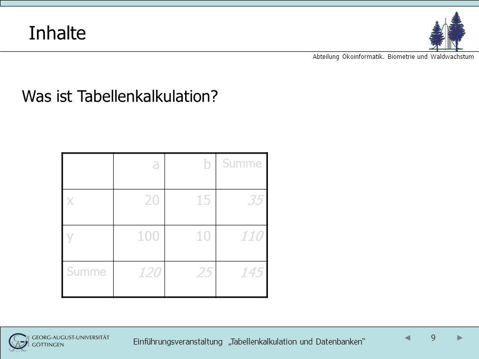 10 Abteilung Ökoinformatik.Biometrie und Waldwachstum Inhalte Was ist Tabellenkalkulation.