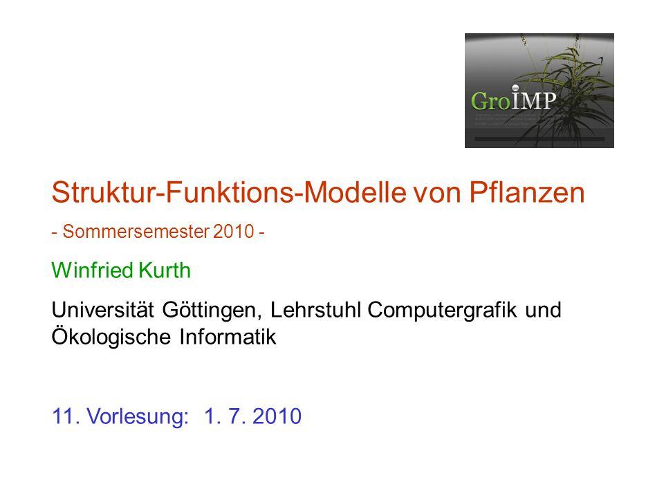 letztes Mal: Bemerkungen zur Analyse der gemessenen Daten erste Vorstufen des Pappelmodells Modellierung von Transportvorgängen Modellierung von Beschattung durch höherliegende Objekte (cone-Funktion)
