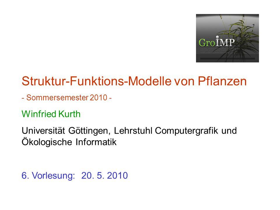 zuletzt: L-System-Beispiele Verwendung von imperativem Code in XL-Programmen konditionale Regelanwendung Einbau von Texturen in Pflanzenmodelle Anlegen eines Projekts in GroIMP stochastische L-Systeme