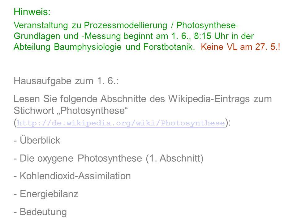 Hinweis: Veranstaltung zu Prozessmodellierung / Photosynthese- Grundlagen und -Messung beginnt am 1. 6., 8:15 Uhr in der Abteilung Baumphysiologie und