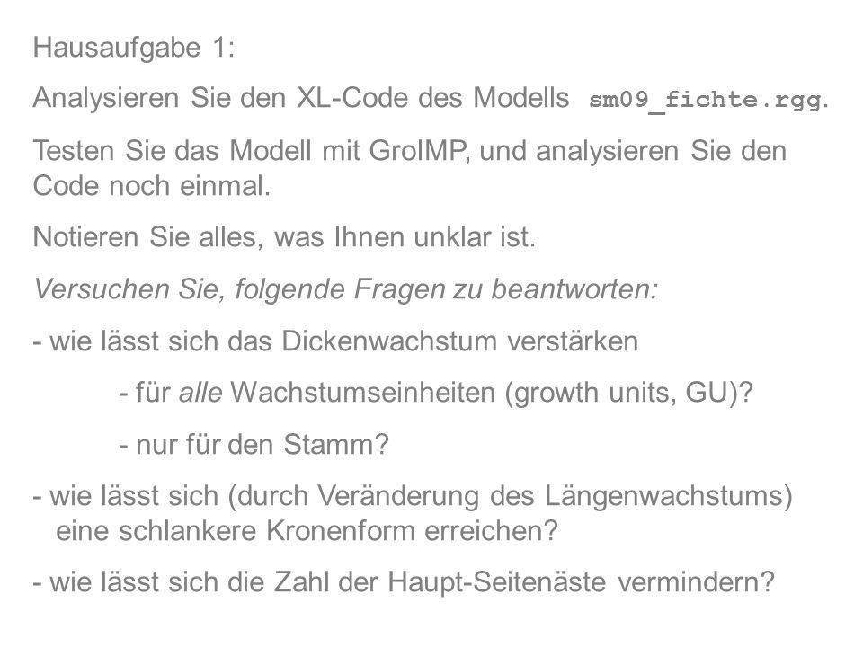 Hausaufgabe 1: Analysieren Sie den XL-Code des Modells sm09_fichte.rgg.
