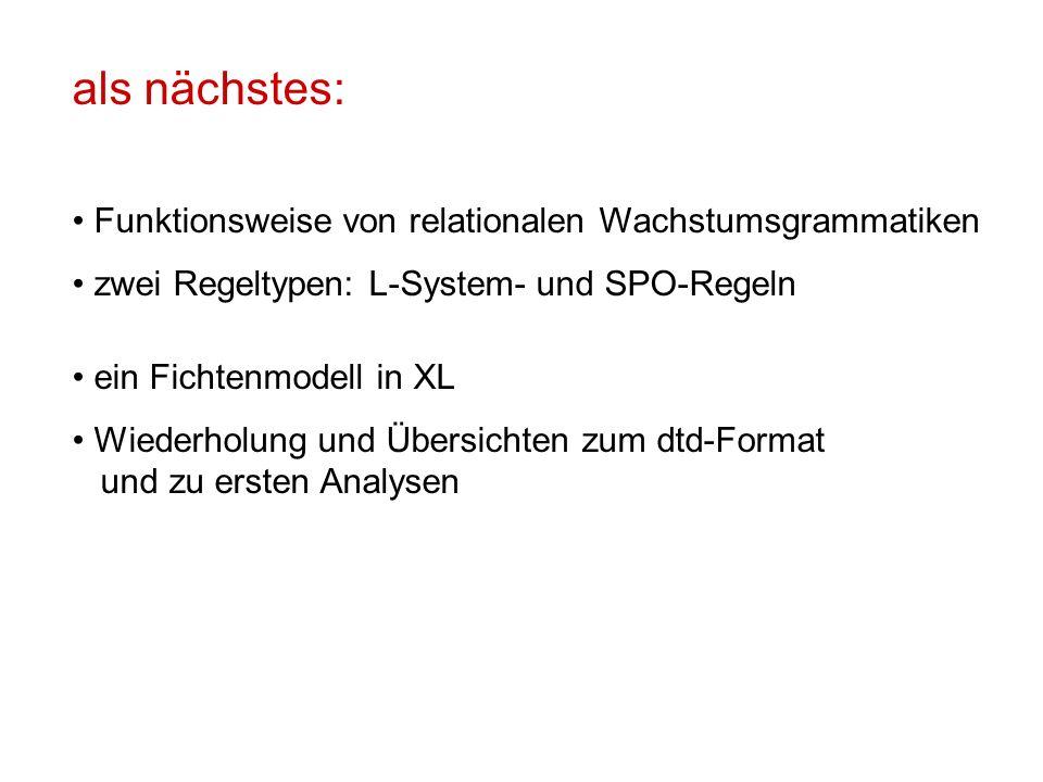 als nächstes: Funktionsweise von relationalen Wachstumsgrammatiken zwei Regeltypen: L-System- und SPO-Regeln ein Fichtenmodell in XL Wiederholung und Übersichten zum dtd-Format und zu ersten Analysen