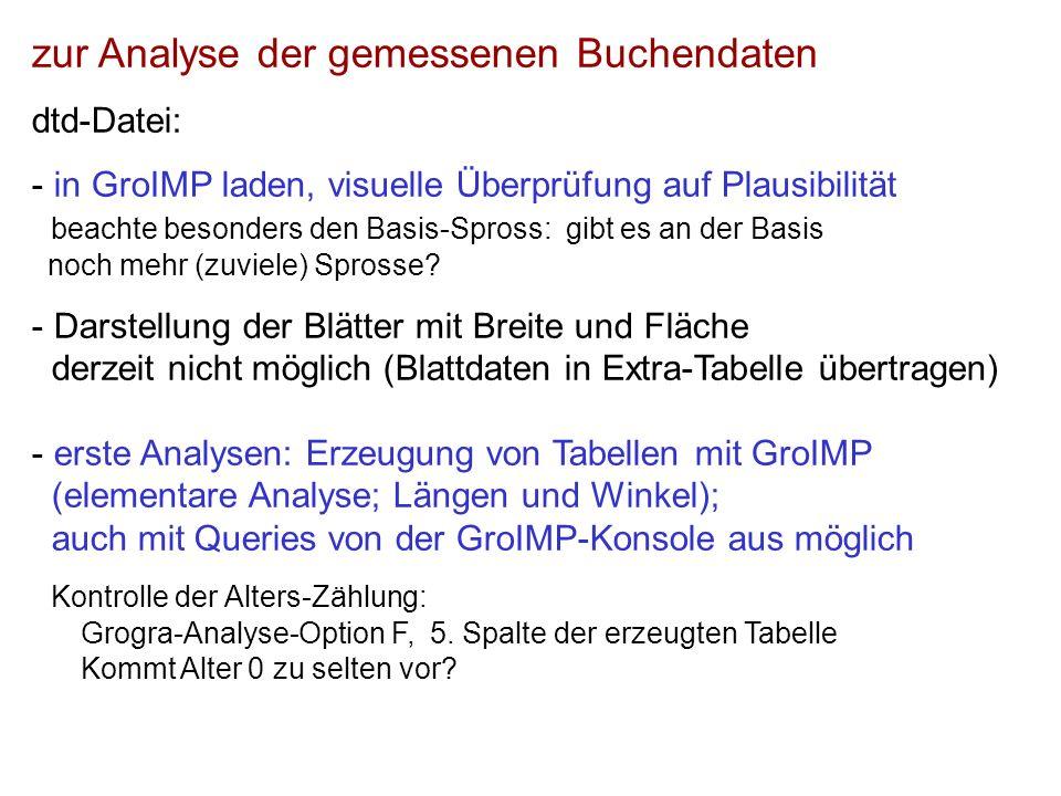 zur Analyse der gemessenen Buchendaten dtd-Datei: - in GroIMP laden, visuelle Überprüfung auf Plausibilität beachte besonders den Basis-Spross: gibt es an der Basis noch mehr (zuviele) Sprosse.