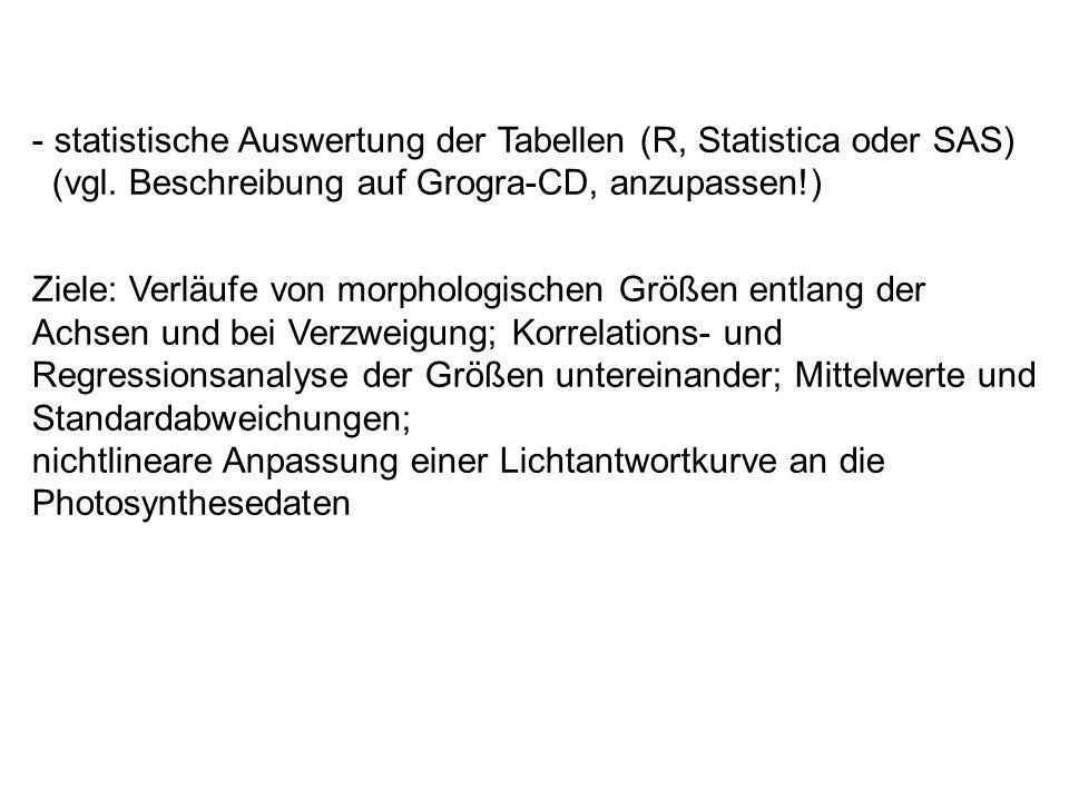 - statistische Auswertung der Tabellen (R, Statistica oder SAS) (vgl.