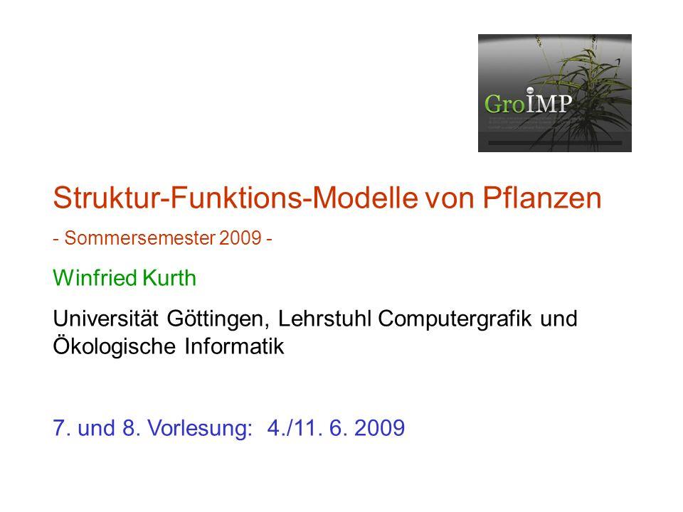 Struktur-Funktions-Modelle von Pflanzen - Sommersemester 2009 - Winfried Kurth Universität Göttingen, Lehrstuhl Computergrafik und Ökologische Informatik 7.