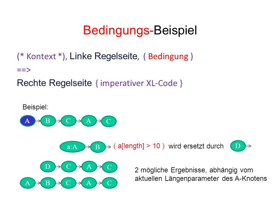 Bedingungs-Beispiel (* Kontext *), Linke Regelseite, ( Bedingung ) ==> Rechte Regelseite { imperativer XL-Code } ABCA DC D a:A wird ersetzt durch B A Beispiel: ( a[length] > 10 ) ABCA 2 mögliche Ergebnisse, abhängig vom aktuellen Längenparameter des A-Knotens C C C