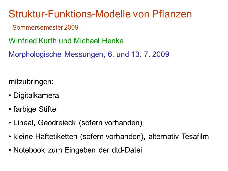 Struktur-Funktions-Modelle von Pflanzen - Sommersemester 2009 - Winfried Kurth und Michael Henke Morphologische Messungen, 6.