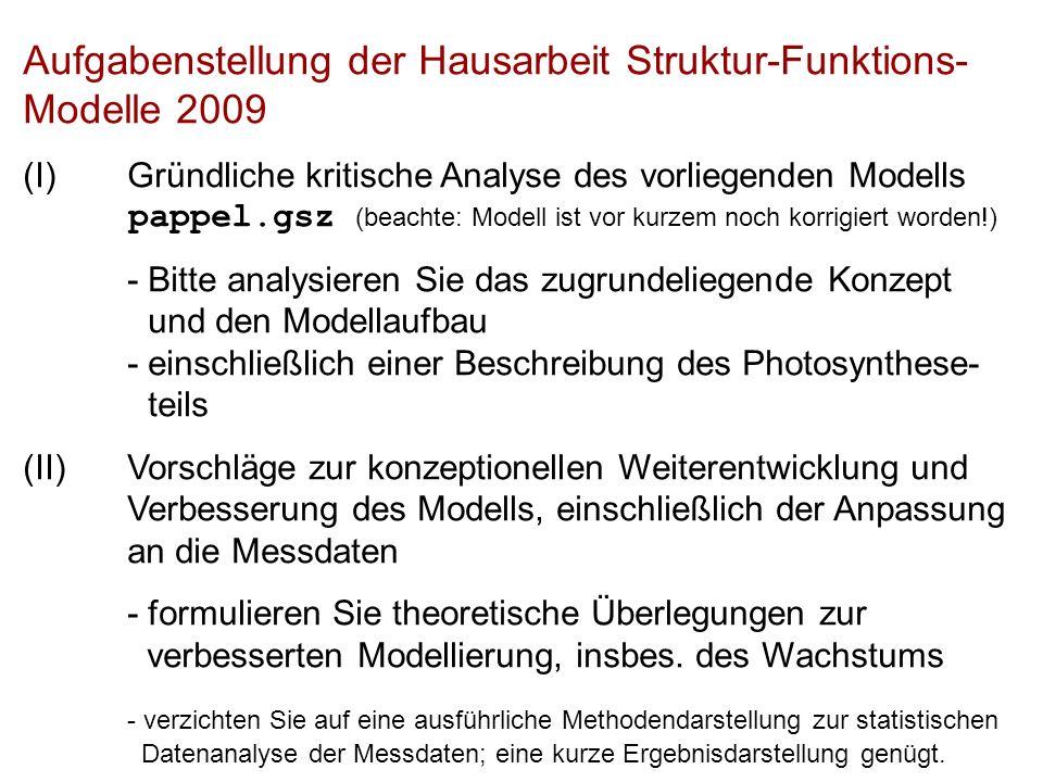 Aufgabenstellung der Hausarbeit Struktur-Funktions- Modelle 2009 (I)Gründliche kritische Analyse des vorliegenden Modells pappel.gsz (beachte: Modell