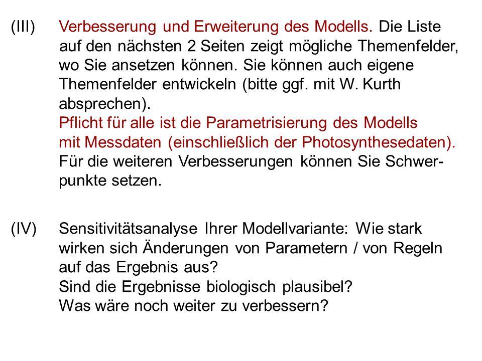 (III)Verbesserung und Erweiterung des Modells.